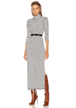 Loewe Stripe High Neck Jersey Dress in Navy & White - Blue,Neutral,Stripes. Size L (also in S,XS).