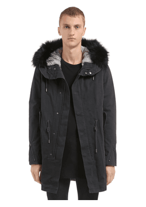 Fitted Canvas Parka W/ Fur Trim & Lining
