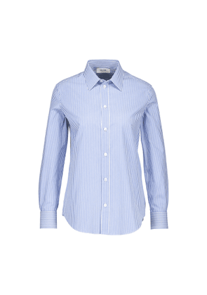 Classic striped cotton canvas shirt with French collar