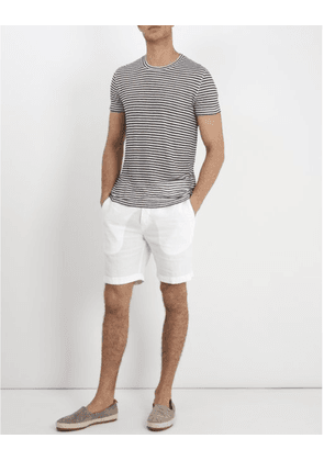 120% Lino Striped T-Shirt in Natural and Navy