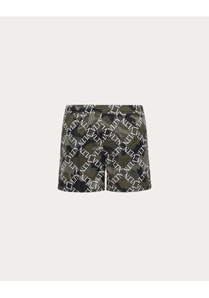 Valentino Uomo Vltn Grid Swimming Shorts Man Military Green Polyamide: 100.0% 48