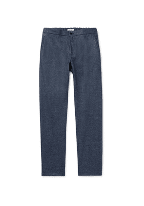 Boglioli - Navy Slim-fit Tapered Micro-checked Wool-flannel Drawstring Trousers - Navy