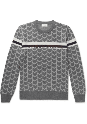 Maison Kitsuné - Wool-jacquard Sweater - Gray