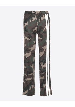 Valentino Camouflage Trousers With Contrast Stripes Man Military Green Polyester: 100.0% 46