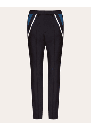 Valentino Uomo Wool Trousers With Contrasting Pocket Man Dark Blue Mohair 16% 46