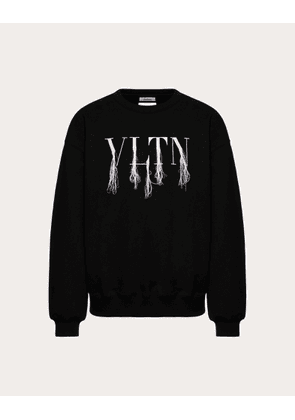 Valentino Uomo Vltn Sweatshirt With Fringe Detail In Collaboration With Doublet Man Black Cotton 100% S