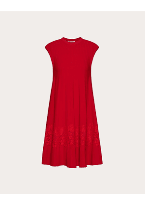 Valentino Stretch Viscose And Heavy Lace Dress Women Red Viscose 83%, Polyester 17% S