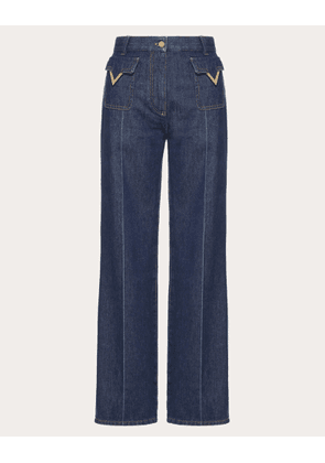 Valentino Jeans With Gold V Details Women Blue  26
