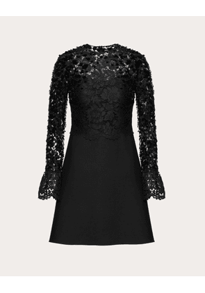 Valentino Embellished Crepe Couture And Heavy Lace Dress Women Black Viscose 39% 40