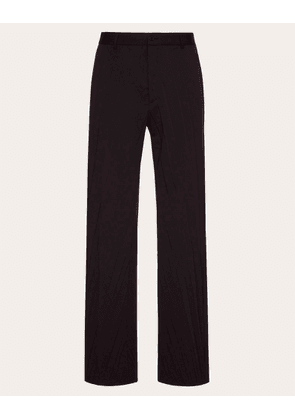 Valentino Uomo Oversized Pleated Trousers Man Black Polyester 53%, Virgin Wool 43%, Elastane 4% 52