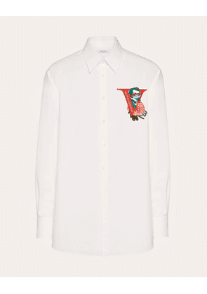 Valentino Uomo Shirt With V Face Rose Embroidery Man White 100% Cotone 40