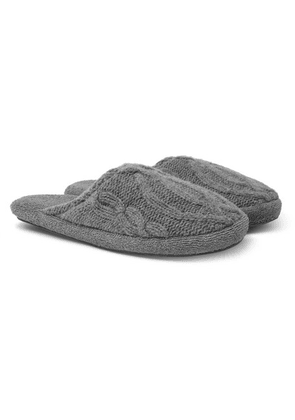 Soho Home - Harrison Cable-knit Wool-blend Slippers - Gray