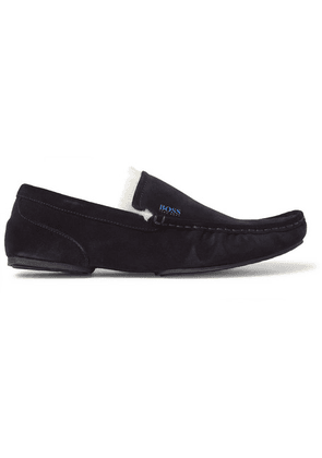 Hugo Boss - Faux Shearling-lined Suede Slippers - Navy