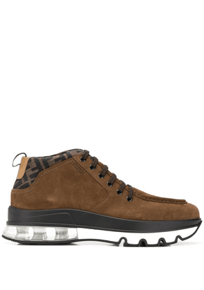 Fendi FF two-fabric lace-up boots - Brown