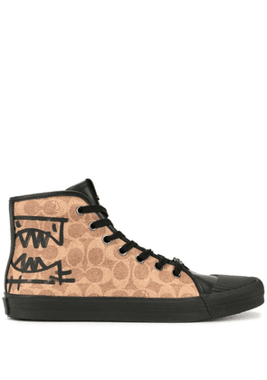Coach printed hi-top sneakers - Brown