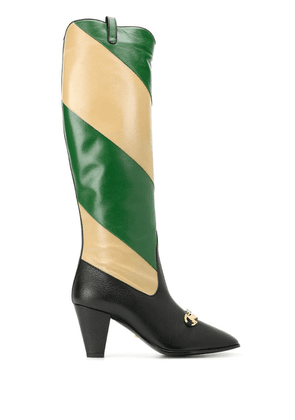 Gucci Zummi GG Horsebit striped knee-high boots - Black