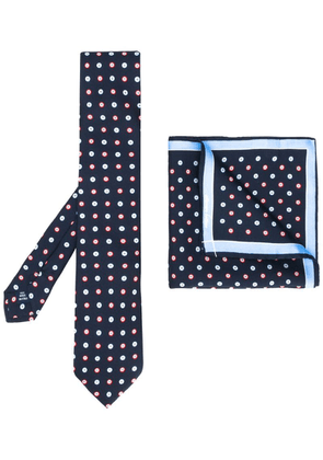 Fefè Button print tie and handkerchief set - Blue