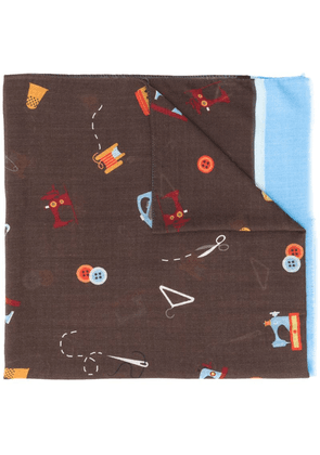 Fefè Sewing print scarf - Brown