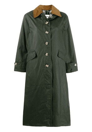 Barbour check lined single-breasted coat - Green