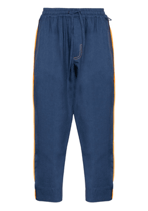 Pronounce contrast stripe drawstring trousers - Blue