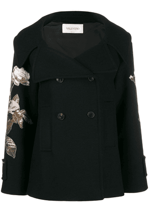 Valentino floral embroidered patch sleeve coat - Black