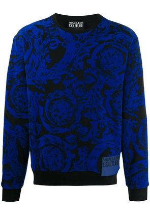 Versace Jeans baroque embroidered sweater - Blue