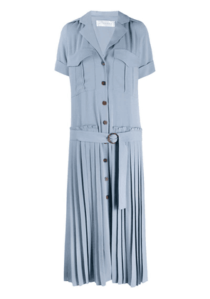 Victoria Beckham pleated long shirt dress - Blue