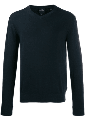 Armani Exchange embroidered logo knit sweater - Blue