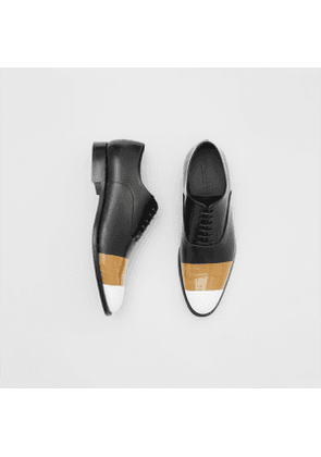 Burberry Tape Detail Leather Oxford Shoes, Size: 39, Black