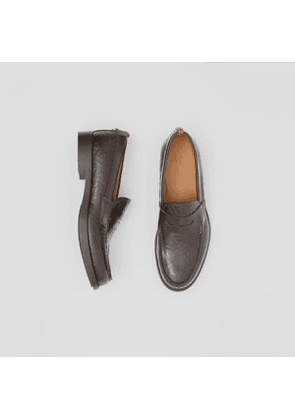 Burberry D-ring Detail Monogram Leather Loafers, Size: 39, Brown