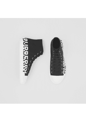 Burberry Logo Print Cotton Gabardine High-top Sneakers, Size: 39, Black