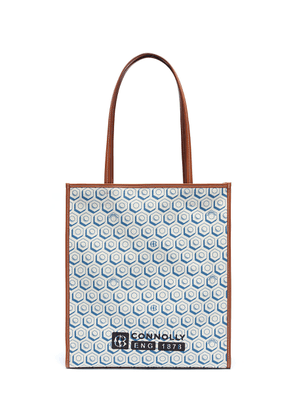 Geometric graphic print canvas shopper tote bag