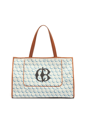 Logo geometric graphic print canvas beach bag