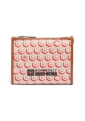 Geometric graphic print canvas clutch