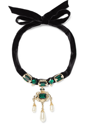 Dolce & Gabbana - Velvet, Gold-tone, Crystal And Faux Pearl Choker - Black