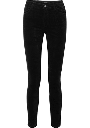 J Brand - Maria Cotton-blend Velvet Skinny Pants - Black