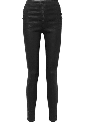 J Brand - Natasha Coated High-rise Skinny Jeans - Black