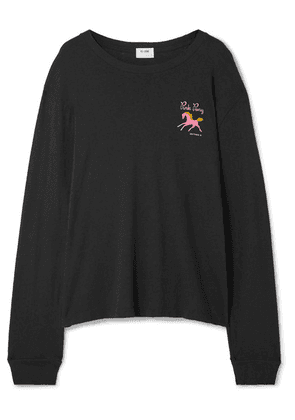 RE/DONE - 90s Pink Pony Printed Cotton-jersey Top - Black