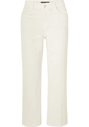 J Brand - Joan Cropped Cotton-blend Corduroy Wide-leg Pants - White