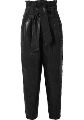 IRO - Bahio Belted Leather Tapered Pants - Black