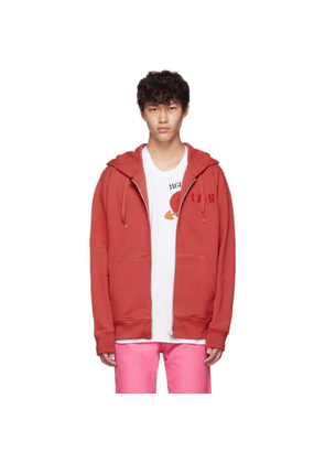 Helmut Lang Red Embroidered Logo Standard Zipped Hoodie