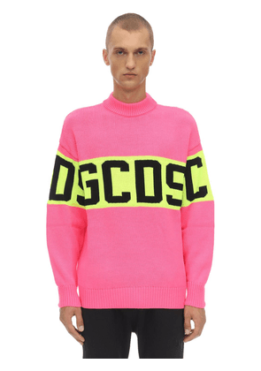 Colorful Logo Wool Blend Knit Sweater