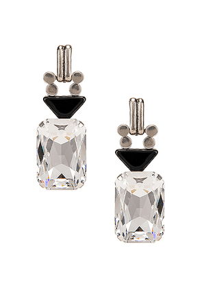 Saint Laurent Crystal Stone Clip Earrings in Silver & Black - Black. Size all.