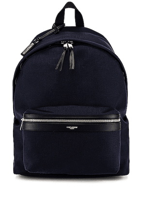 Saint Laurent City Backpack in Midnight Blue & Black - Black. Size all.