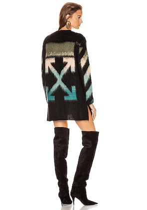 OFF-WHITE Intarsia Mohair Crewneck Sweater in Black Petrol - Abstract,Black. Size 40 (also in 42).