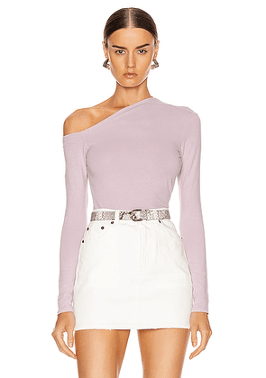 Enza Costa Angled Exposed Shoulder Long Sleeve Top in Pink Crystals - Purple. Size L (also in M,S,XS).