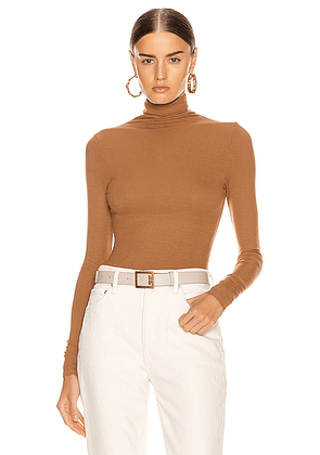 Enza Costa Rib Long Sleeve Turtleneck Bodysuit in Danish Brown - Brown,Neutral. Size L (also in M,S,XS).
