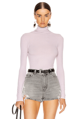 Enza Costa Rib Long Sleeve Turtleneck Bodysuit in Pink Crystals - Pink,Purple. Size L (also in M,S,XS).