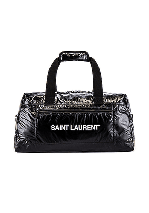 Saint Laurent Nylon Ripstop Duffel Bag in Black & Platinum - Black. Size all.
