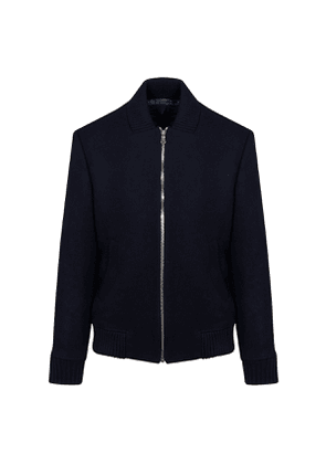 Navy Wool Bomber Jacket